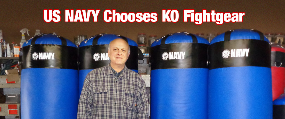 Custom 400 Pound Heavy Bags for the United States Navy including custom silkscreened logo