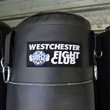 Westchester Fight Club Custom Logo Patch on Heavy Bag