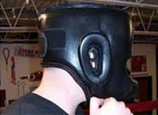 Facesaver Protective Headfgear Side View Closeup on Person's Head
